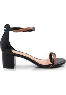 Sandália Salto Grosso Uza Shoes Feminina - Feminino-Preto