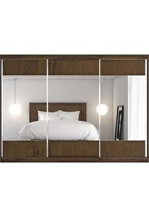Guarda-Roupa Milano - 3 Portas - Com 3 Espelhos - 100% Mdf - Braúna