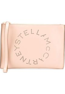 Stella Mccartney Clutch Com Logo Perfurado - Neutro