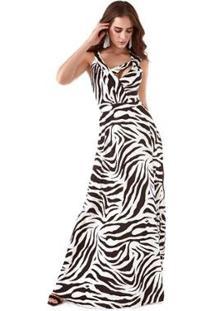 Vestido Richini Longo Feminino - Feminino-Branco+Preto