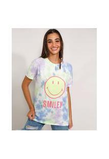 Camiseta Feminina Smiley Estampada Tie Dye Manga Curta Multicor