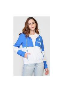 Jaqueta Corta Vento Polo Wear Color Block Branca/Azul