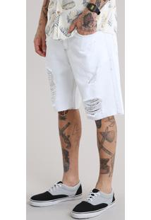 Bermuda Jeans Reta Destroyed Off White