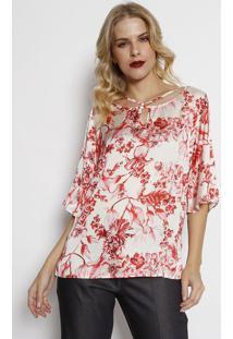 Blusa Floral Acetinada Com Vazado - Off White & Vermelhasimple Life