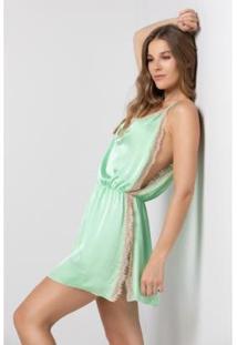 Camisola Acuo Alcinha Com Renda Sonho De Amor Feminina - Feminino-Verde