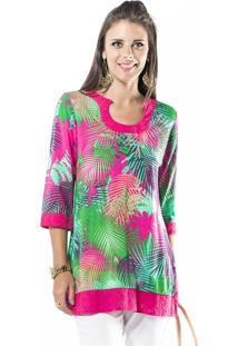 Tunica Marcia Mello Estampada C Detalhe Liso Floral