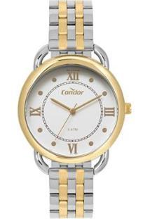Relógio Condor Bracelete Bicolor Feminino - Feminino-Prata+Dourado