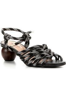 Sandália Shoestock Salto Baixo Redondo Feminina - Feminino-Preto+Branco