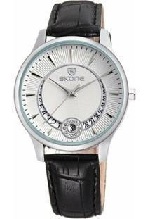 Relógio Skone Analógico 9242Bg - Feminino-Branco+Preto