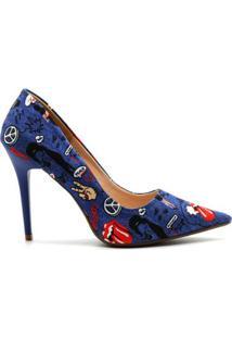 Scarpin Royalz Tecido Penélope Rock Feminino - Feminino-Azul