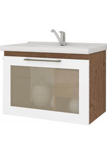 Gabinete Suspenso Para Banheiro Hibisco 44X59Cm Amêndoa E Branco