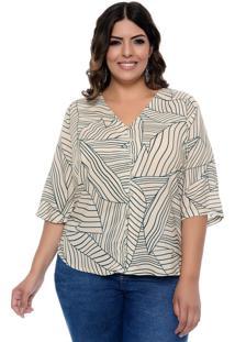 Camisa Prelúdio Plus Size Evergreen Bege