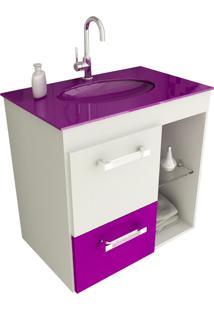 Gabinete Para Banheiro 60 Cm Com 2 Peças Linea 12 Branco E Violeta Tomdo