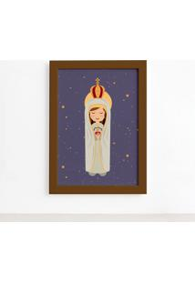 Quadro Nossa Senhora De Fã¡Tima Moldura Marrom 22X32Cm - Multicolorido - Dafiti