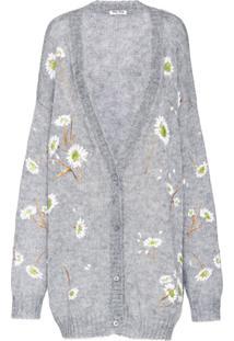 Miu Miu Cardigan Oversized Com Bordado Floral - Cinza