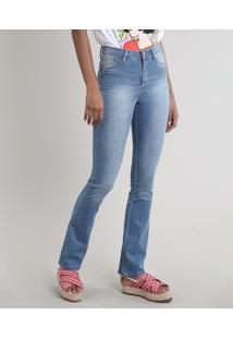 Calça Jeans Feminina Sawary Flare Push Up Azul Médio
