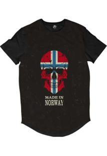 Camiseta Longline Bsc Caveira País Noruega Sublimada Masculina - Masculino-Preto