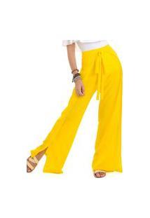 Calça Pantalona Crepe Amarelo