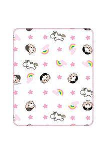 Cobertor Bebê Feminino Mônica E Magali Baby Branco E Rosa (90X110Cm) - Turma Da Mônica - Tamanho Único - Branco,Rosa