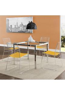 Mesa 326 Vidro Incolor Cromada Com 4 Cadeiras 1712 Amarela Carraro