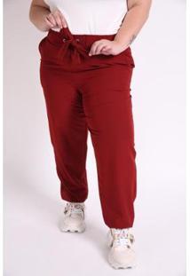 Calça Jogging Plus Size Vinho Ex Kaue Plus Size - Feminino-Vinho