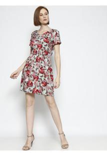 Vestido Floral Com Botã£O Aplicado - Verde Claro & Vermelvip Reserva