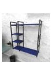 Estante Industrial Escritório Aço Cor Preto 90X30X98Cm (C)X(L)X(A) Cor Mdf Azul Modelo Ind44Azes