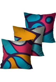 Kit Com 3 Capas Para Almofadas Pump Up Decorativas Turquesa Abstrato 45X45Cm - Roxo - Dafiti