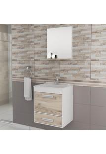 Gabinete Para Banheiro Com Espelheira Balcony Up Não Acompanha Torneira E Acessórios Branco/Cabernet
