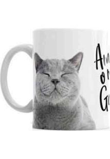 Caneca De Cerâmica Sude Presentes Pets Amo Meu Gato Branca