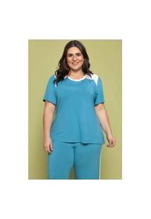 Blusa Básica Almaria Plus Size Garage Recorte Bicolor Azul
