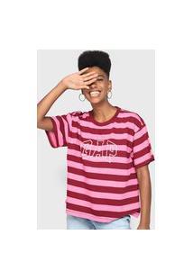 Camiseta Gap Listrada Logo Rosa