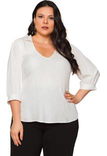 Blusa Almaria Plus Size Pianeta Devorê Off White