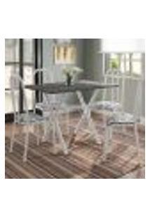 Conjunto De Mesa Miame 110 Cm Com 4 Cadeiras Madri Branco E Branco Floral