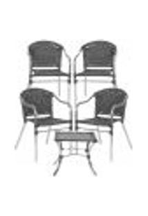 Jogo Cadeiras 4Un E Mesa De Centro Floripa Para Edicula Jardim Area Varanda Descanso - Preto