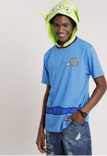 Camiseta Masculina Carnaval Alien Toy Story Com Capuz Manga Curta Azul