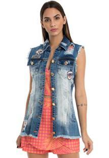... Colete Jeans Moikana Frente C  Bordado - Feminino-Azul e9928c8208ae8