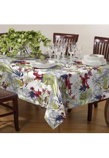Toalha De Mesa Quadrada 140Cmx140Cm Canvas Tecelagem Damata Floral