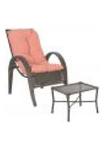 Jogo Cadeira 1Un E Mesa P/ Jardim Edicula Varanda Descanso Trama Napoli Plus Pedra Ferro A15