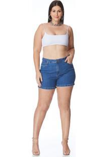 Bermuda Jeans Zait Meia Coxa Plus Size Tereza Azul Marinho