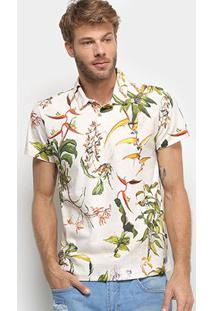 Camisa Polo Colcci Estampada Tropical Masculina - Masculino-Off White