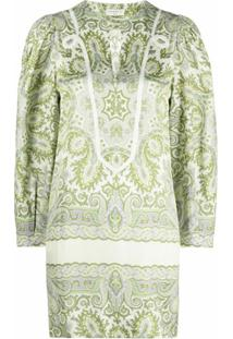 Sandro Paris Vestido Reto Com Estampa Paisley - Verde