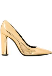 Casadei Scarpin Bico Fino Metalizado - Dourado