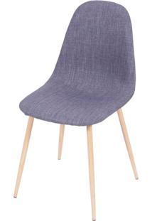 Cadeira Robin Linho Jeans Azul Base De Metal Com Pintura De Madeira - 43060 - Sun House