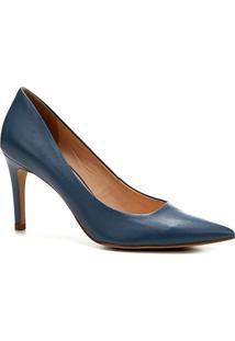 Scarpin Couro Shoestock Salto Alto Básico - Feminino-Azul
