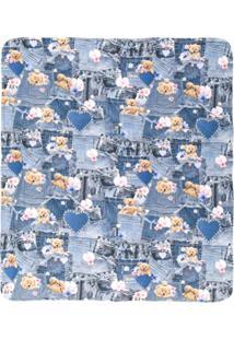 Lapin House Cobertor Com Estampa Jeans Com Ursinhos - Azul