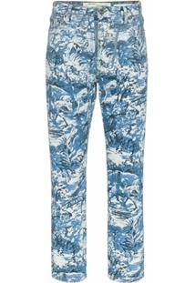 Off-White Calça Jeans 'Tapestry' Cropped - Azul