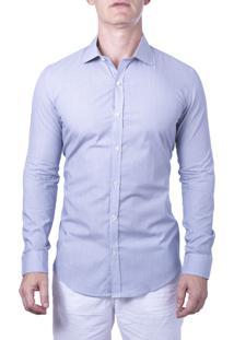 Camisa Alfaiataria Burguesia Com Riscas Finas 100% Algodão Azul