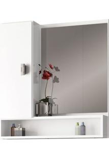 Espelheira Para Banheiro 60Cm Mdf Orquídea Branca 55,5X60X13,5Cm - Cozimax - Cozimax