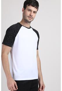 Camiseta Masculina Raglan Básica Manga Curta Decote Careca Branca